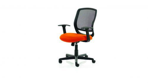 Mave Task Operator Chair Black Mesh With Arms Bespoke Colour Seat Orange