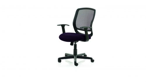 Mave Task Operator Chair Black Mesh With Arms Bespoke Colour Seat Purple