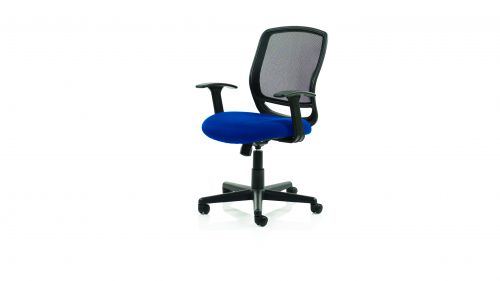 Mave Task Operator Chair Black Mesh With Arms Bespoke Colour Seat Admiral Blue