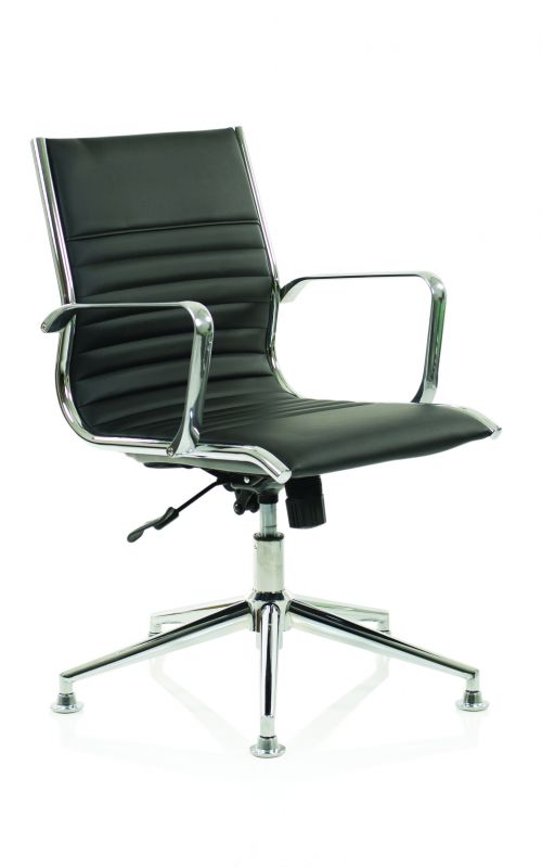 Ritz Executive Medium Back Chair Black Bonded Leather With Arms With Chrome Glides