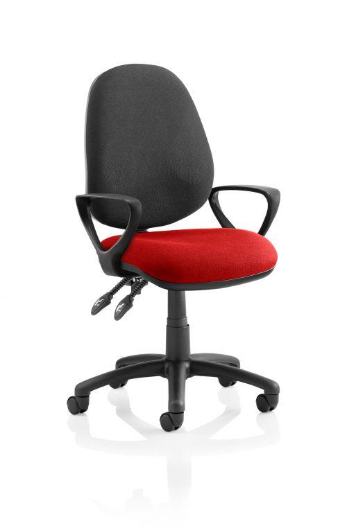 Luna II Lever Task Operator Chair Black Back Bespoke Seat With Loop Arms In Bergamot Cherry