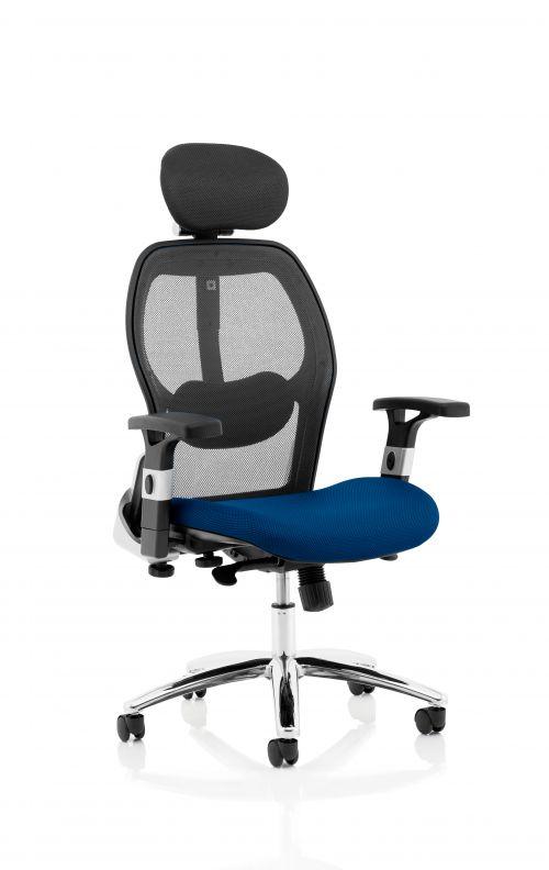 Sanderson II Upholstered Seat Only Stevia Blue Mesh Back Chair