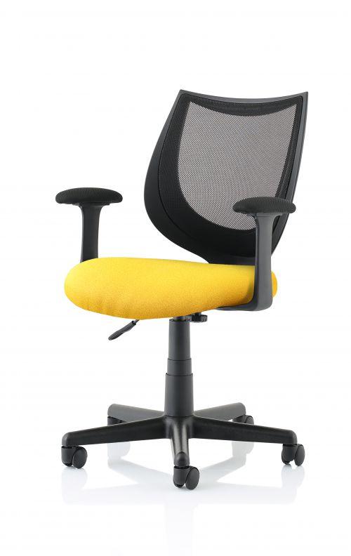 Camden Black Mesh Chair in Senna Yellow