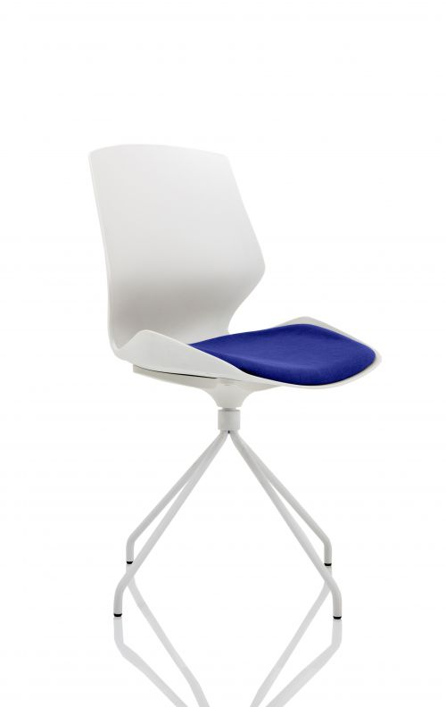Florence Spindle White Frame Visitor Chair in Stevia Blue