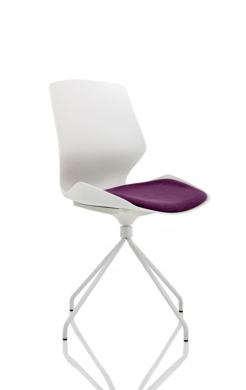 Florence Spindle White Frame Visitor Chair in Tansy Purple