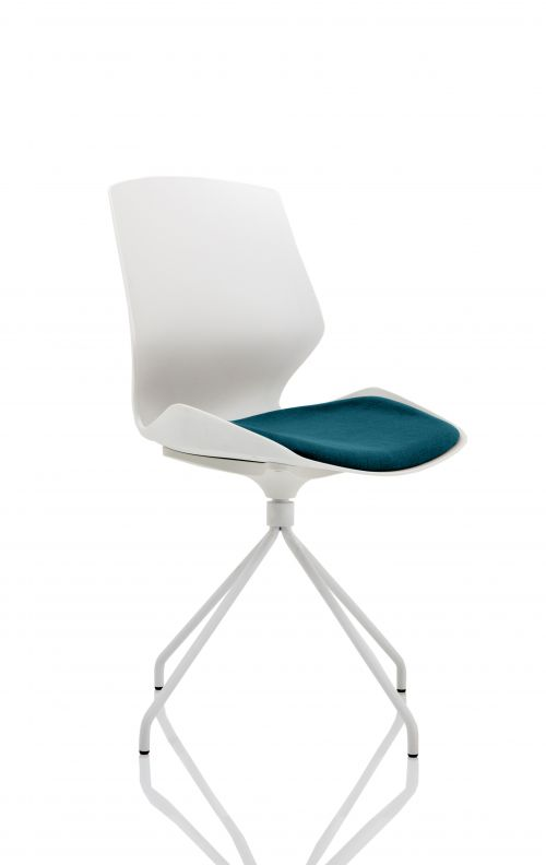 Florence Spindle White Frame Visitor Chair in Maringa Teal