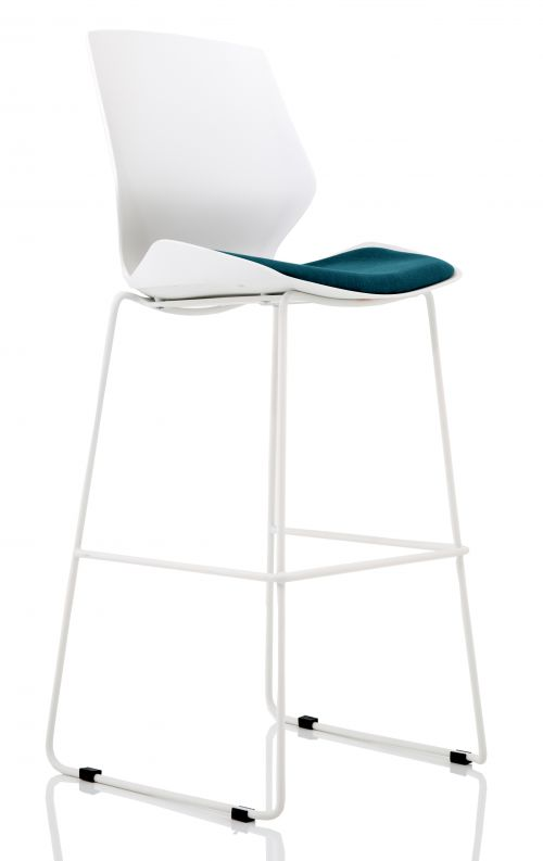 Florence White Frame High Stool in Maringa Teal