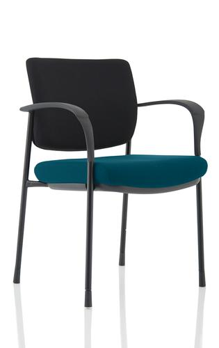Brunswick Deluxe Black Fabric Back Black Frame Bespoke Colour Seat Maringa Teal With Arms