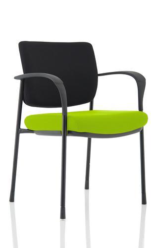 Brunswick Deluxe Black Fabric Back Black Frame Bespoke Colour Seat Myrrh Green With Arms