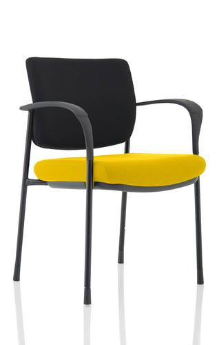 Brunswick Deluxe Black Fabric Back Black Frame Bespoke Colour Seat Senna Yellow With Arms
