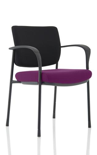 Brunswick Deluxe Black Fabric Back Black Frame Bespoke Colour Seat Tansy Purple With Arms