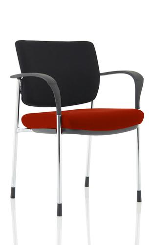 Brunswick Deluxe Black Fabric Back Chrome Frame Bespoke Colour Seat Ginseng Chilli With Arms