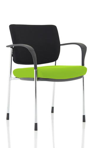 Brunswick Deluxe Black Fabric Back Chrome Frame Bespoke Colour Seat Myrrh Green With Arms