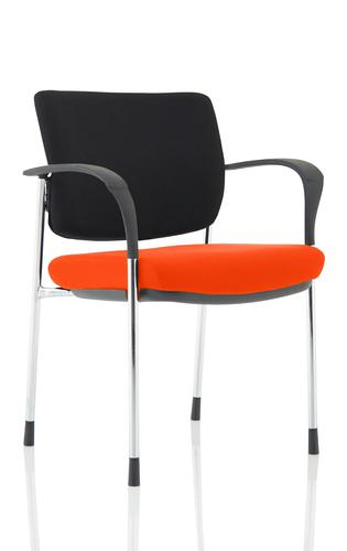 Brunswick Deluxe Black Fabric Back Chrome Frame Bespoke Colour Seat Tabasco Red With Arms