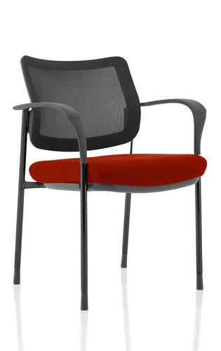 Brunswick Deluxe Mesh Back Black Frame Bespoke Colour Seat Ginseng Chilli With Arms