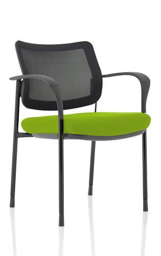Brunswick Deluxe Mesh Back Black Frame Bespoke Colour Seat Myrrh Green With Arms
