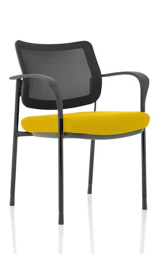 Brunswick Deluxe Mesh Back Black Frame Bespoke Colour Seat Senna Yellow With Arms