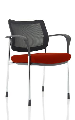 Brunswick Deluxe Mesh Back Chrome Frame Bespoke Colour Seat Ginseng Chilli With Arms