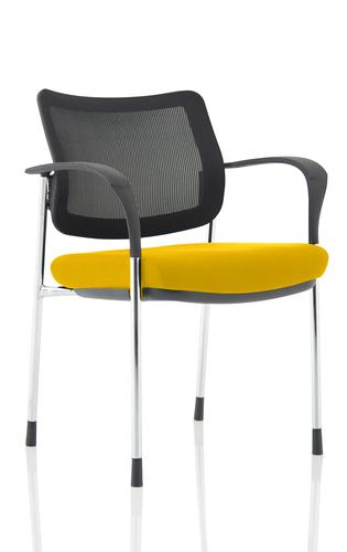 Brunswick Deluxe Mesh Back Chrome Frame Bespoke Colour Seat Senna Yellow With Arms