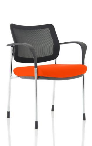Brunswick Deluxe Mesh Back Chrome Frame Bespoke Colour Seat Tabasco Orange With Arms