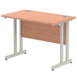 Impulse 1000 x 800mm Straight Desk Beech Top Silver Cantilever Leg