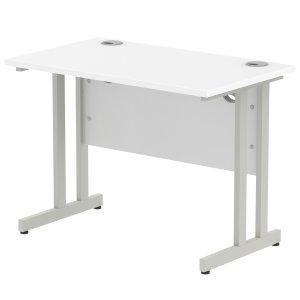 Impulse 1000 x 800mm Straight Desk White Top Silver Cantilever Leg