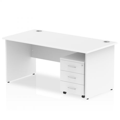 Impulse 1400 Straight Panel End Workstation 500 Three drawer mobile Pedestal Bundle White