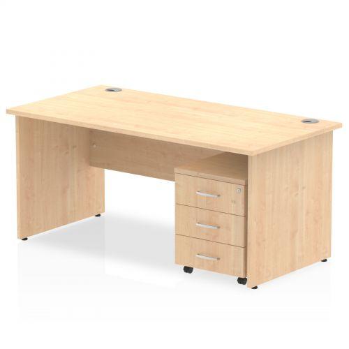 Impulse 1200 Straight Panel End Workstation 500 Three drawer mobile Pedestal Bundle Maple
