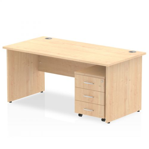 Impulse 1400 Straight Panel End Workstation 500 Three drawer mobile Pedestal Bundle Maple