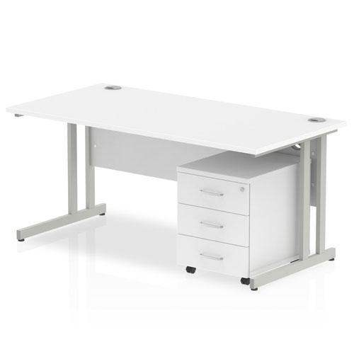 Impulse 1600 Straight Cantilever Workstation 500 Three drawer mobile Pedestal Bundle White