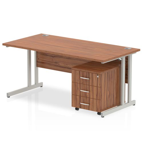 Impulse 1400 Straight Cantilever Workstation 500 Three drawer mobile Pedestal Bundle Walnut