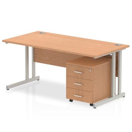 Impulse 1400 Straight Cantilever Workstation 500 Three drawer mobile Pedestal Bundle Oak