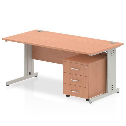 Impulse 1800 Straight Wire Managed Workstation 500 Three drawer mobile Pedestal Bundle Beech