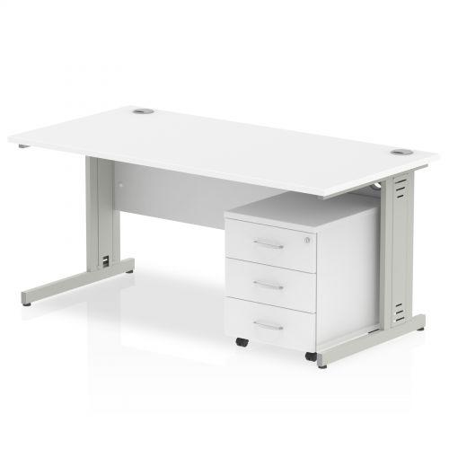 Impulse 1400 Straight Wire Managed Workstation 500 Three drawer mobile Pedestal Bundle White