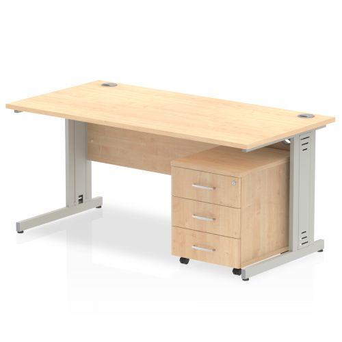 Impulse 1200 Straight Wire Managed Workstation 500 Three drawer mobile Pedestal Bundle Maple
