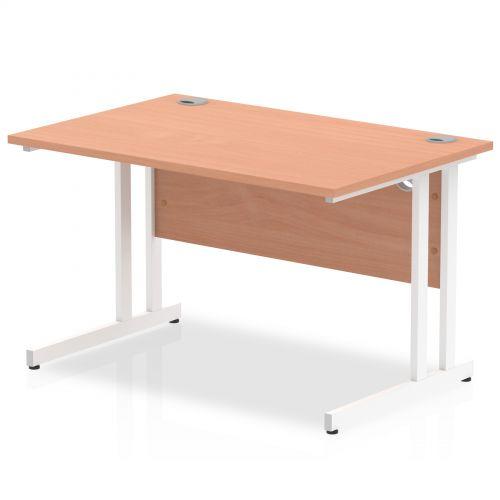 Impulse 1200 x 800mm Straight Desk Beech Top White Cantilever Leg MI001674