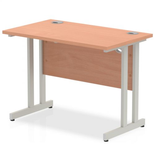 Impulse 1000 x 600mm Straight Desk Beech Top Silver Cantilever Leg MI001678