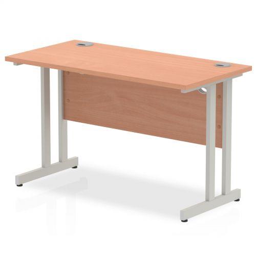 Impulse 1200 x 600mm Straight Desk Beech Top Silver Cantilever Leg MI001679