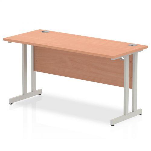 Impulse 1400 x 600mm Straight Desk Beech Top Silver Cantilever Leg MI001680