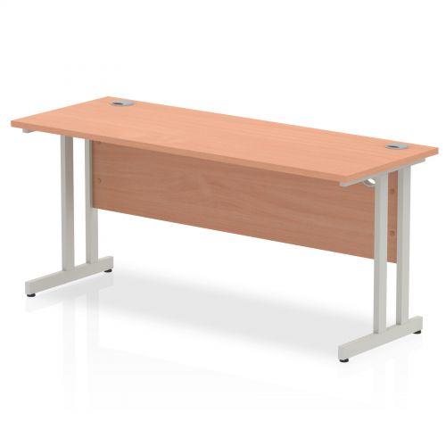 Impulse 1600 x 600mm Straight Desk Beech Top Silver Cantilever Leg MI001681