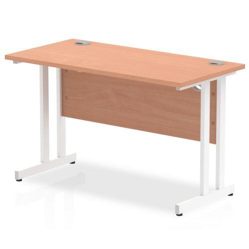 Impulse 1200 x 600mm Straight Desk Beech Top White Cantilever Leg MI001684