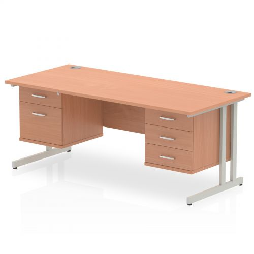 Impulse 1600 Rectangle Silver Cant Leg Desk Beech 1 x 2 Drawer 1 x 3 Drawer Fixed Ped