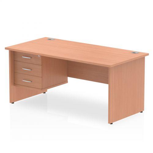 Impulse 1600 Rectangle Panel End Leg Desk Beech 1 x 3 Drawer Fixed Ped