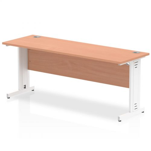Impulse 1800/600 Rectangle White Cable Managed Leg Desk Beech