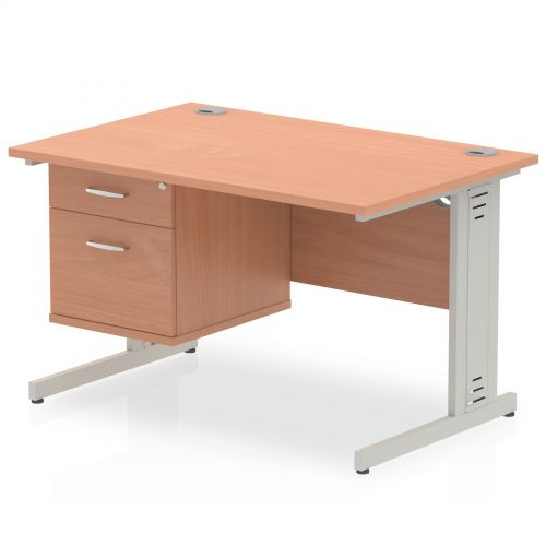 Impulse 1200 Rectangle Silver Cable Managed Leg Desk Beech 1 x 2 Drawer Fixed Ped