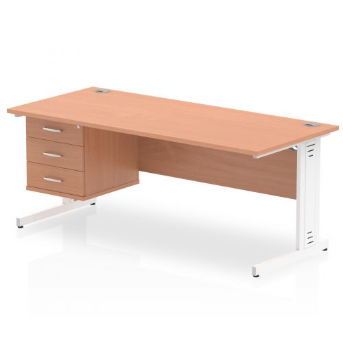 Impulse 1800 Rectangle White Cable Managed Leg Desk Beech 1 x 3 Drawer Fixed Ped