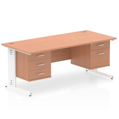 Impulse 1800 Rectangle White Cable Managed Leg Desk Beech 1 x 2 Drawer 1 x 3 Drawer Fixed Ped