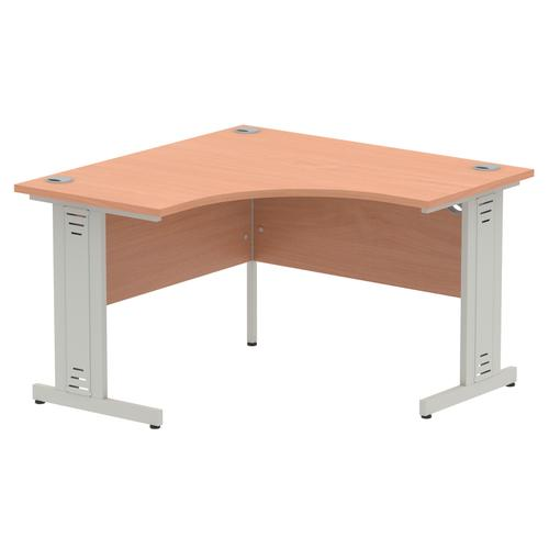 Impulse 1200 Corner Desk Silver Cable Managed Leg Desk Beech