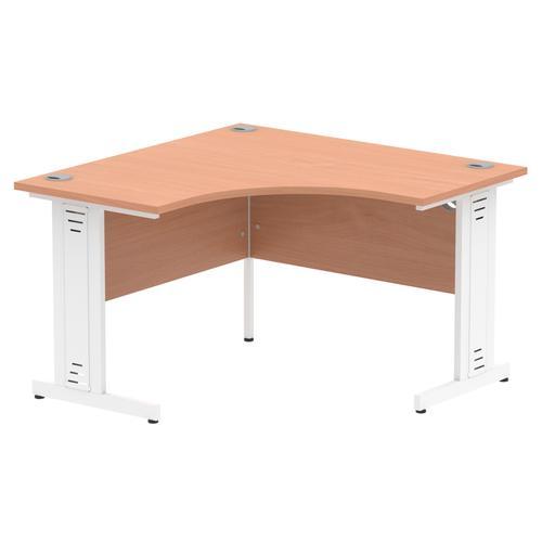 Impulse 1200 Corner Desk White Cable Managed Leg Desk Beech