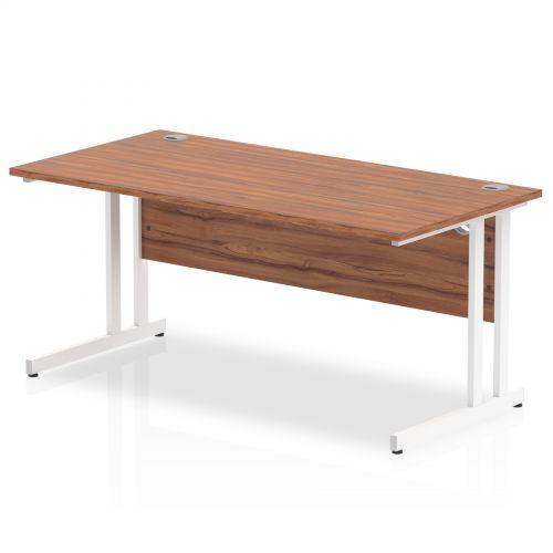 Impulse 1600/800 Rectangle White Cantilever Leg Desk Walnut